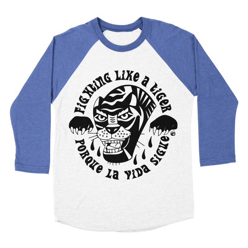 LIKE A TIGER Women's Baseball Triblend Longsleeve T-Shirt by Mico Jones Artist Shop
