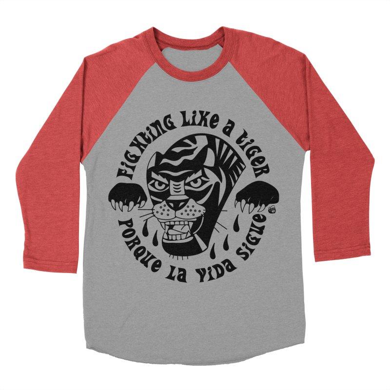 LIKE A TIGER Women's Baseball Triblend T-Shirt by Mico Jones Artist Shop