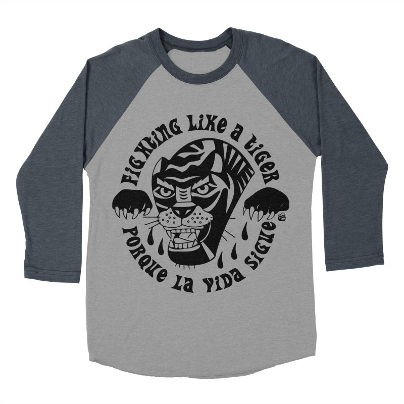 LIKE A TIGER Women's Baseball Triblend Longsleeve T-Shirt by Mico Jones Artist Shop