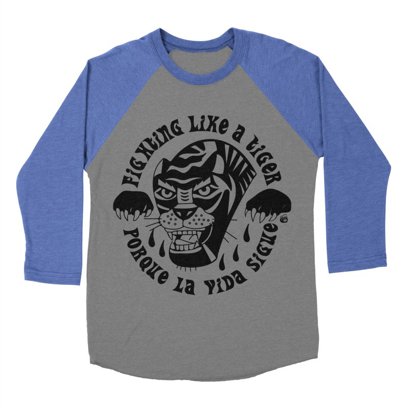 LIKE A TIGER Men's Baseball Triblend Longsleeve T-Shirt by Mico Jones Artist Shop