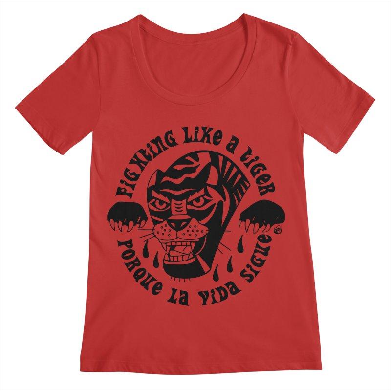 LIKE A TIGER Women's Scoop Neck by Mico Jones Artist Shop