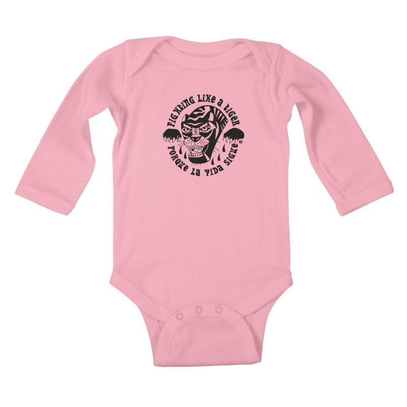 LIKE A TIGER Kids Baby Longsleeve Bodysuit by Mico Jones Artist Shop
