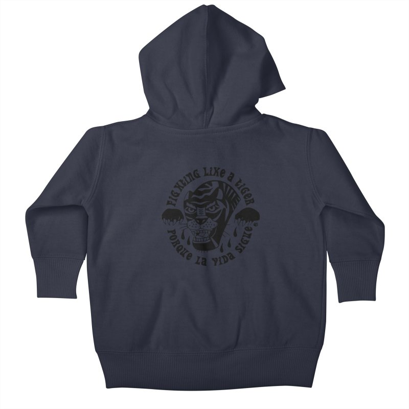 LIKE A TIGER Kids Baby Zip-Up Hoody by Mico Jones Artist Shop