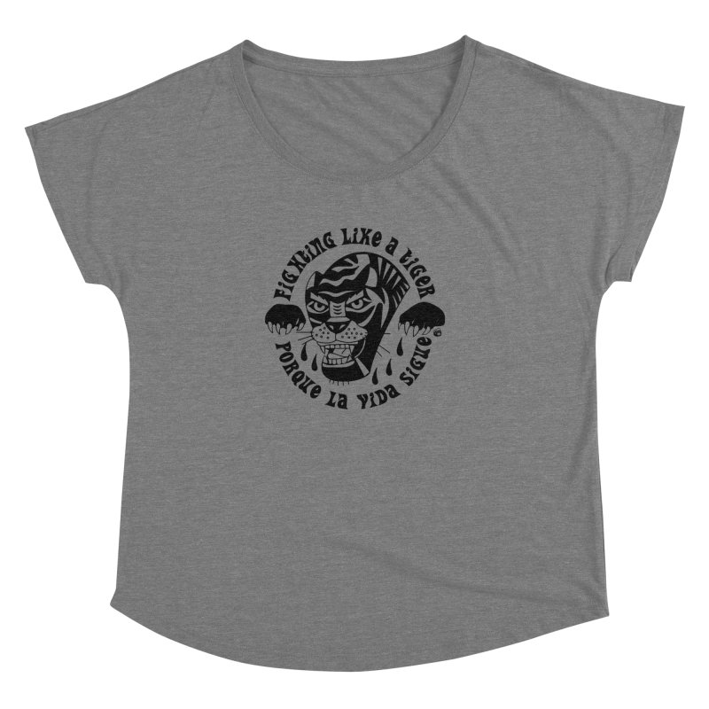 LIKE A TIGER Women's Scoop Neck by Mico Jones Artist Shop