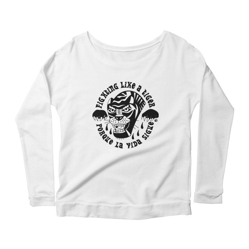 LIKE A TIGER Women's Scoop Neck Longsleeve T-Shirt by Mico Jones Artist Shop