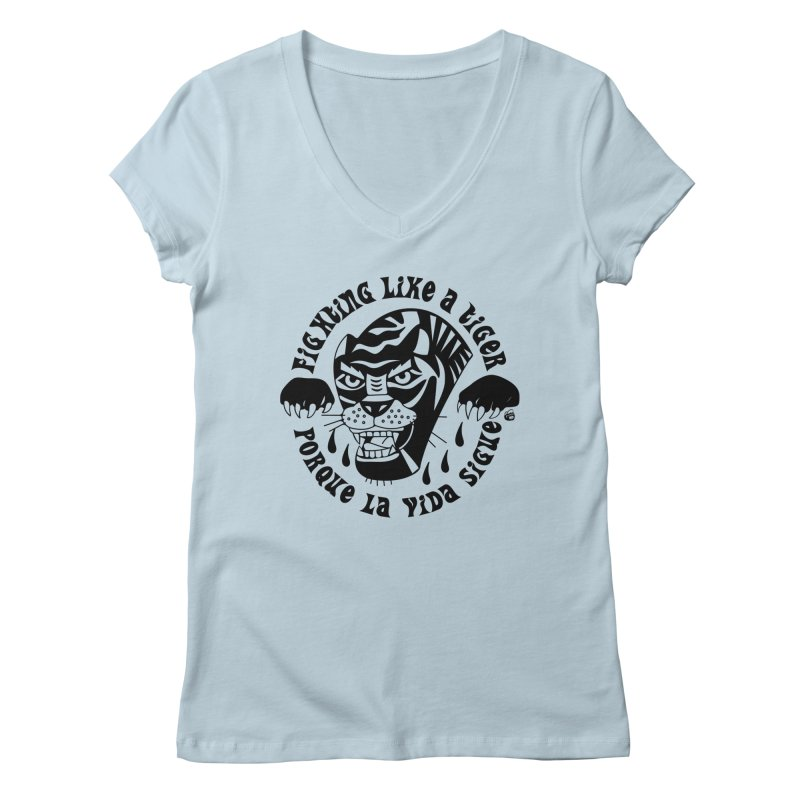 LIKE A TIGER Women's V-Neck by Mico Jones Artist Shop