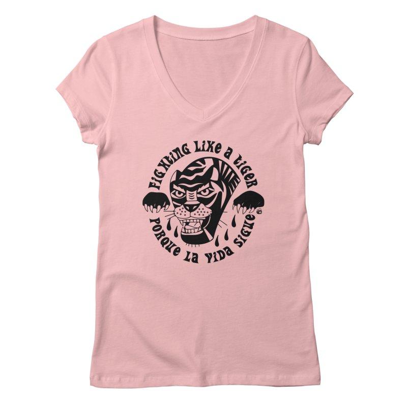 LIKE A TIGER Women's V-Neck by Mico Jones Artist Shop
