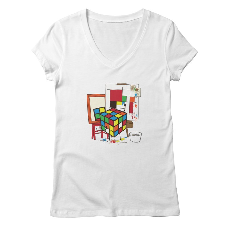 self portrait Women's V-Neck by micronisus's Artist Shop