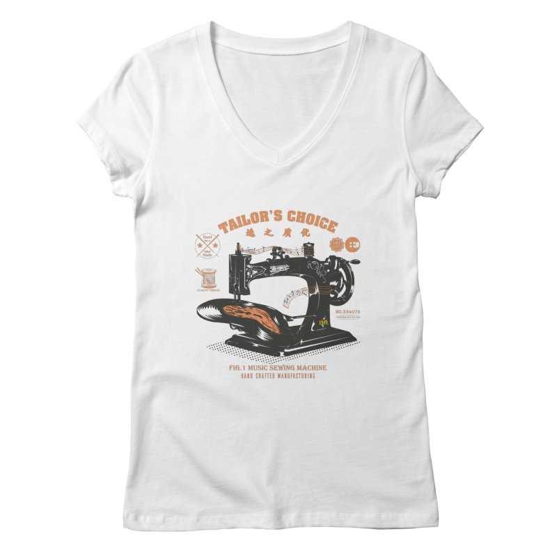 sewing Women's Regular V-Neck by micronisus's Artist Shop