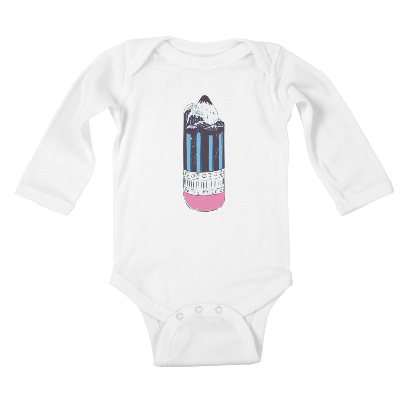 Wave of Art Kids Baby Longsleeve Bodysuit by micronisus's Artist Shop