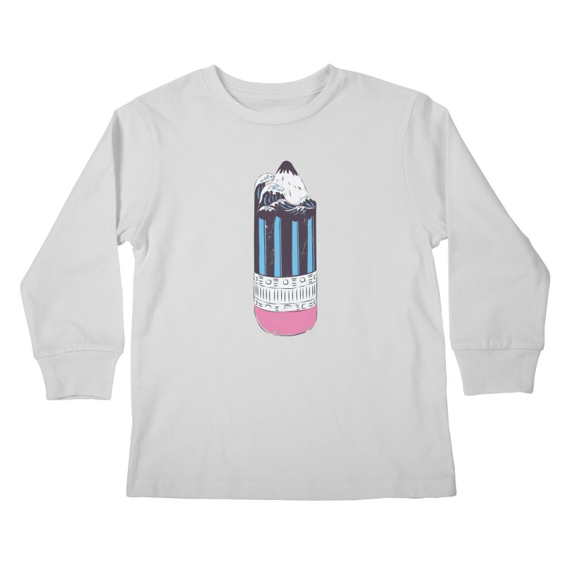 Wave of Art Kids Longsleeve T-Shirt by micronisus's Artist Shop