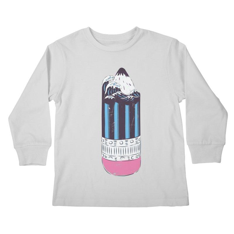 Wave of Art Kids Longsleeve T-Shirt by micronisus's Artist Shop