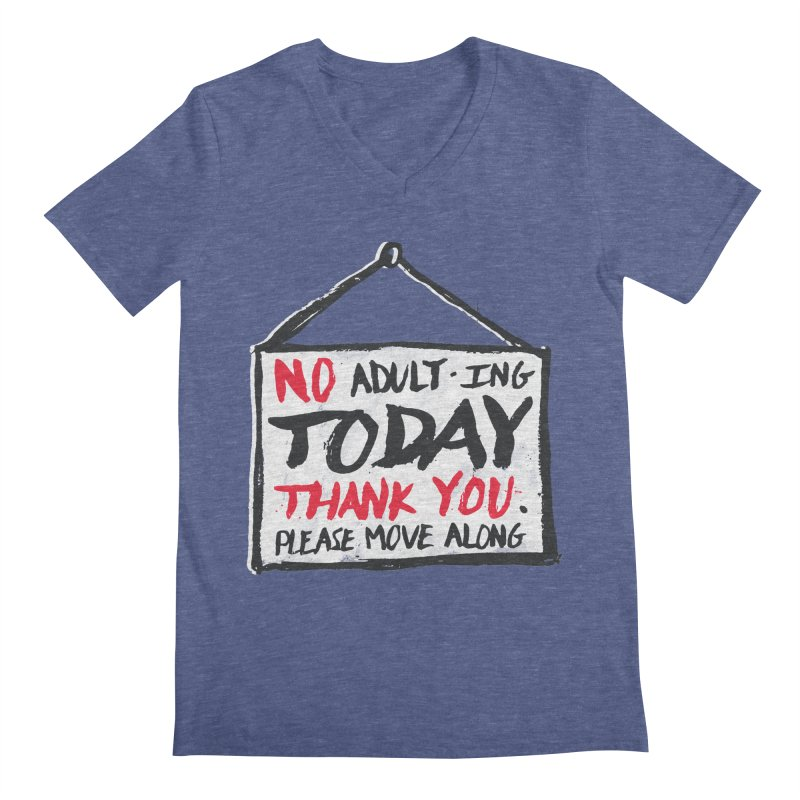 No Thank You Men's Regular V-Neck by MidnightCoffee