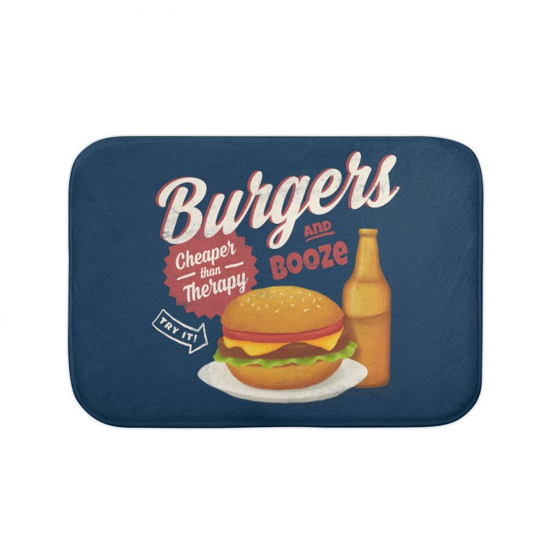 Burgers & Booze Home Bath Mat by MidnightCoffee