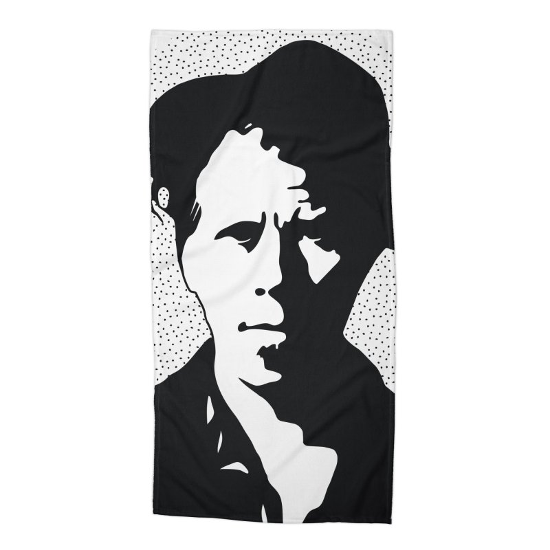Tom Waits in White Accessories Beach Towel by Midnight Studio