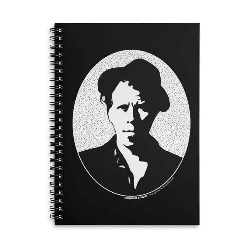 Tom Waits in White Accessories Lined Spiral Notebook by Midnight Studio