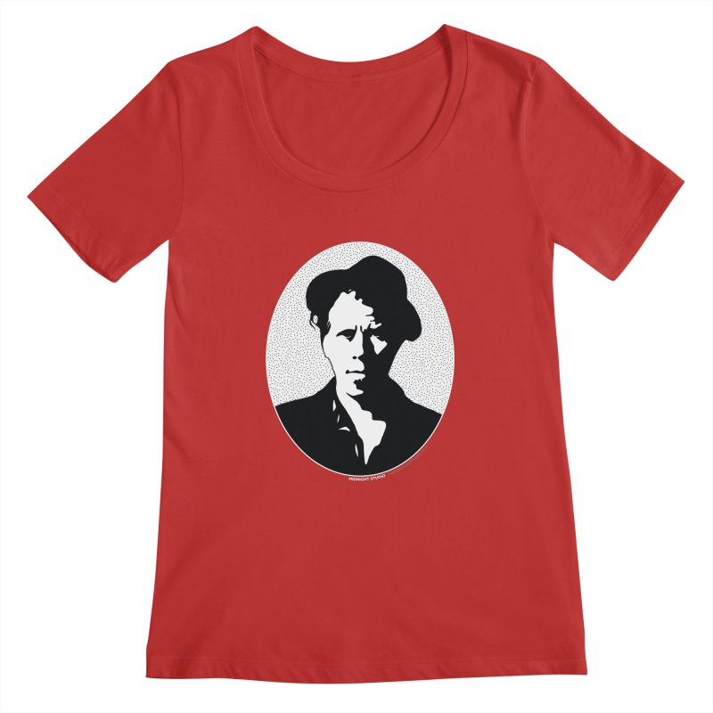 Tom Waits in White Women's Regular Scoop Neck by Midnight Studio