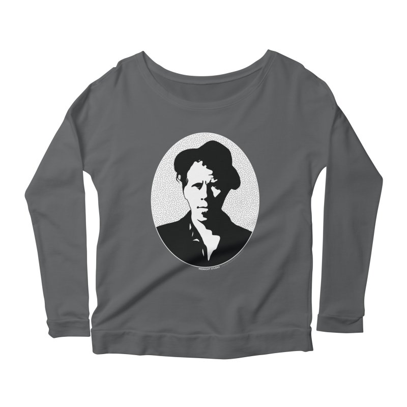 Tom Waits in White Women's Longsleeve Scoopneck  by Midnight Studio