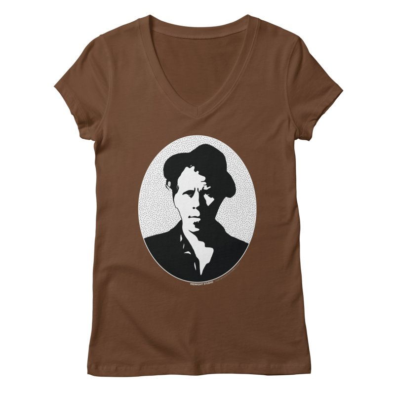 Tom Waits in White Women's Regular V-Neck by Midnight Studio