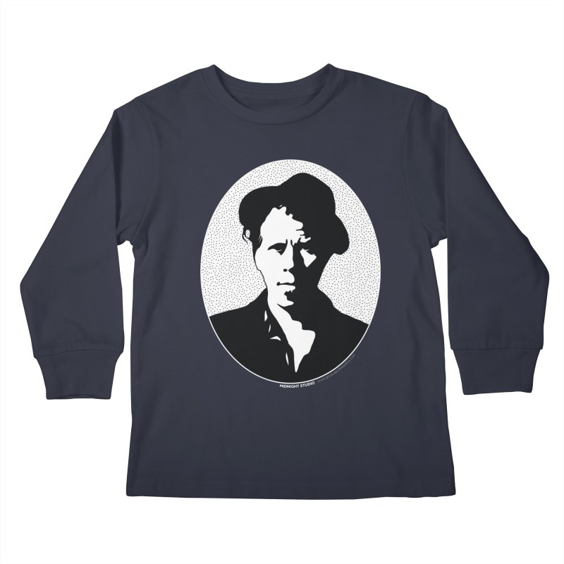 Tom Waits in White Kids Longsleeve T-Shirt by Midnight Studio