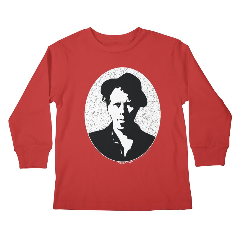 Tom Waits in White Kids Longsleeve T-Shirt by Midnight Studio