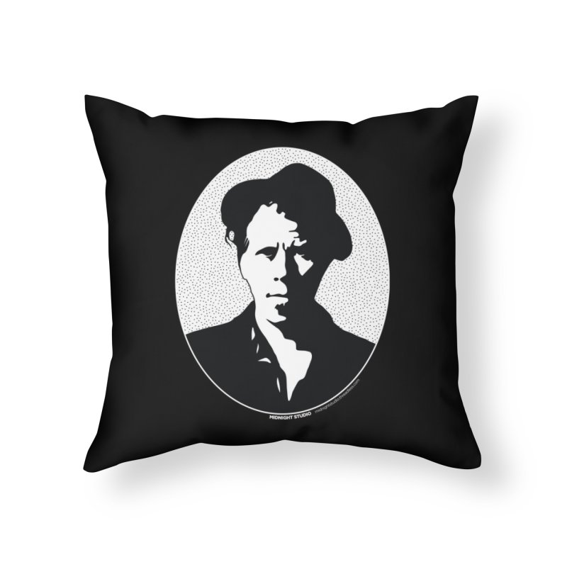 Tom Waits in White Home Throw Pillow by Midnight Studio