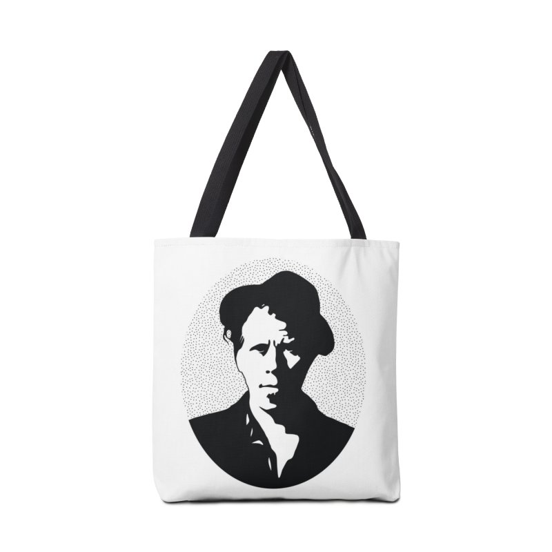Tom Waits in White Accessories Tote Bag Bag by Midnight Studio