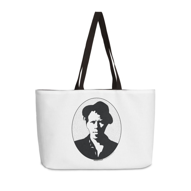Tom Waits in Black Accessories Weekender Bag Bag by Midnight Studio