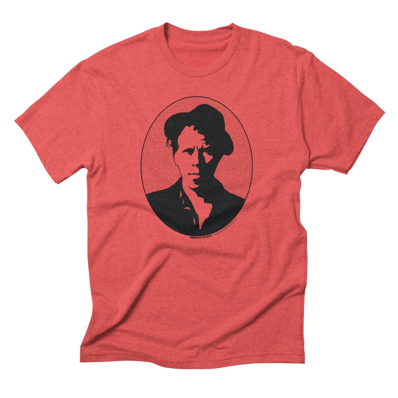 Tom Waits in Black in Men's Triblend T-Shirt Chili Red by Midnight Studio