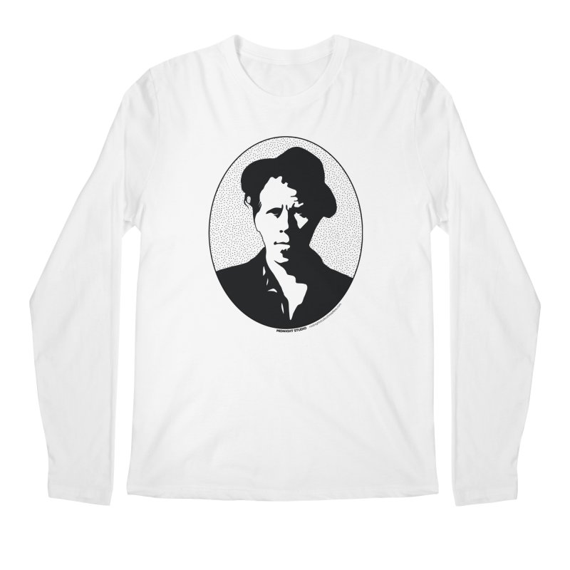Tom Waits in Black Men's Regular Longsleeve T-Shirt by Midnight Studio