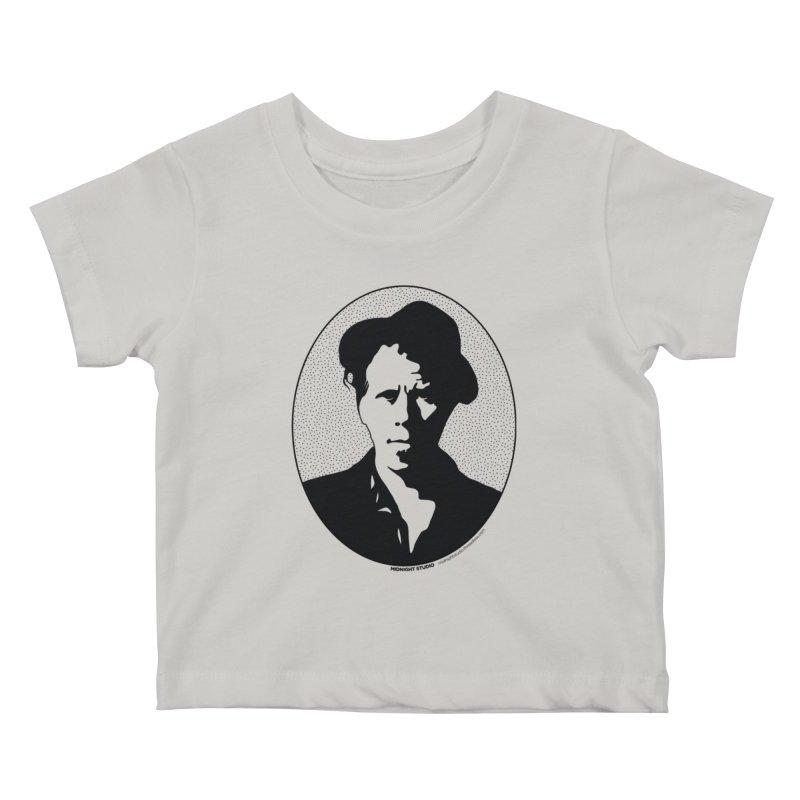 Tom Waits in Black Kids Baby T-Shirt by Midnight Studio
