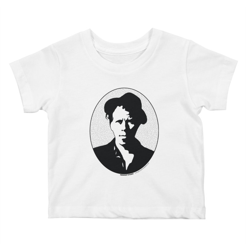 Tom Waits in Black Kids Baby T-Shirt by Midnight Studio