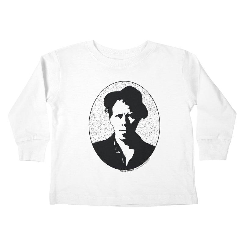 Tom Waits in Black Kids Toddler Longsleeve T-Shirt by Midnight Studio