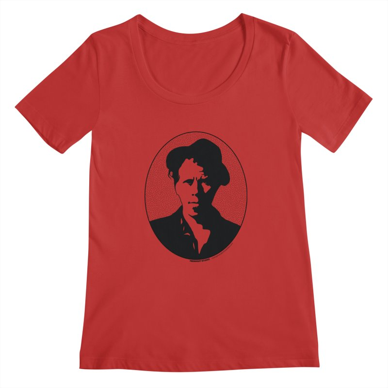 Tom Waits in Black Women's Regular Scoop Neck by Midnight Studio