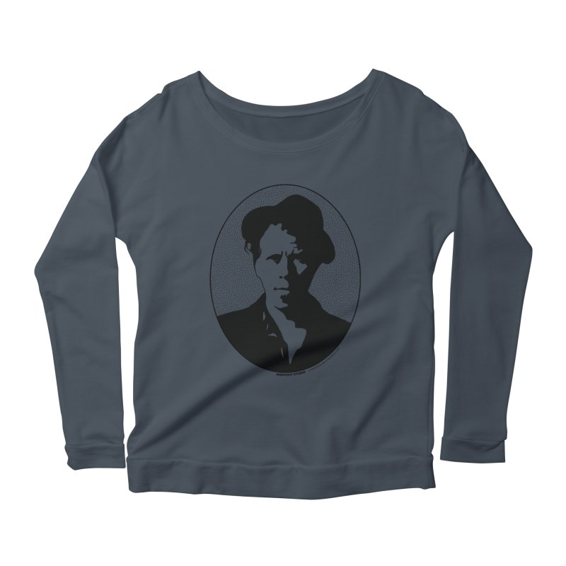 Tom Waits in Black Women's Longsleeve Scoopneck  by Midnight Studio