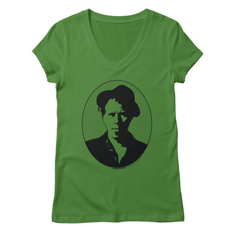 Tom Waits in Black Women's Regular V-Neck by Midnight Studio