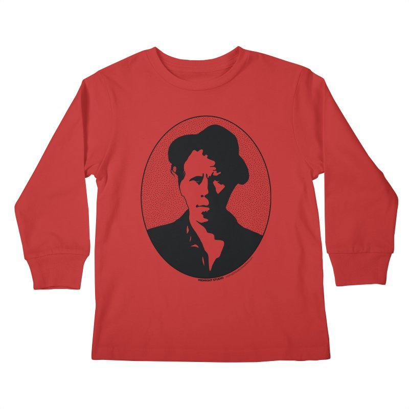 Tom Waits in Black Kids Longsleeve T-Shirt by Midnight Studio