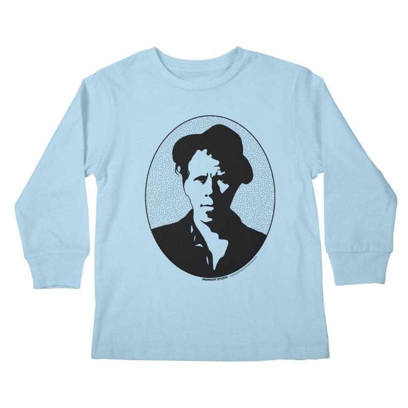 Tom Waits in Black Kids Longsleeve T-Shirt by Midnight Studio