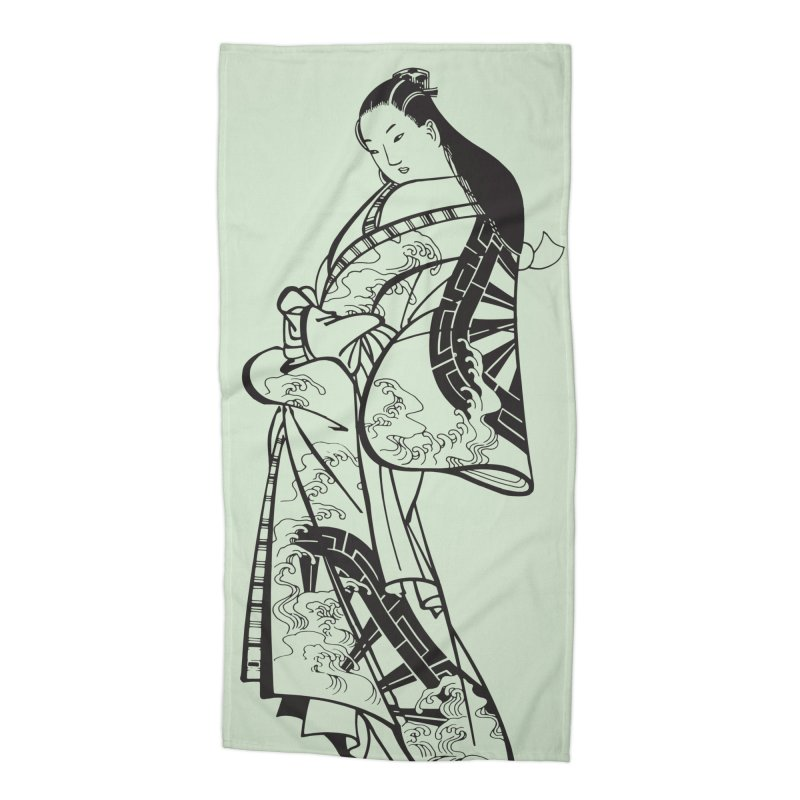 Geisha Accessories Beach Towel by Midnight Studio