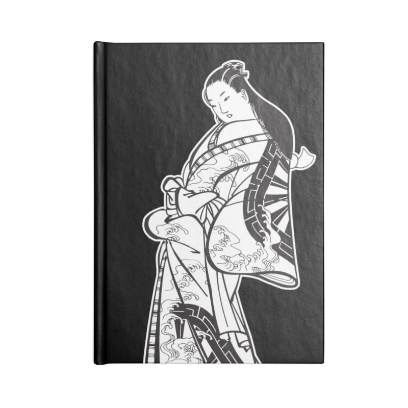 Geisha - Black Accessories Lined Journal Notebook by Midnight Studio