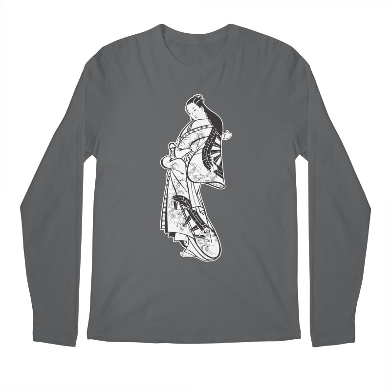 Geisha - Black Men's Longsleeve T-Shirt by Midnight Studio