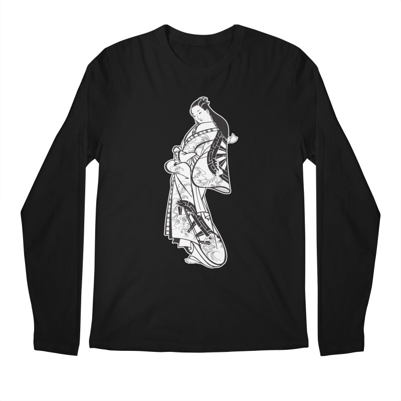 Geisha - Black Men's Regular Longsleeve T-Shirt by Midnight Studio