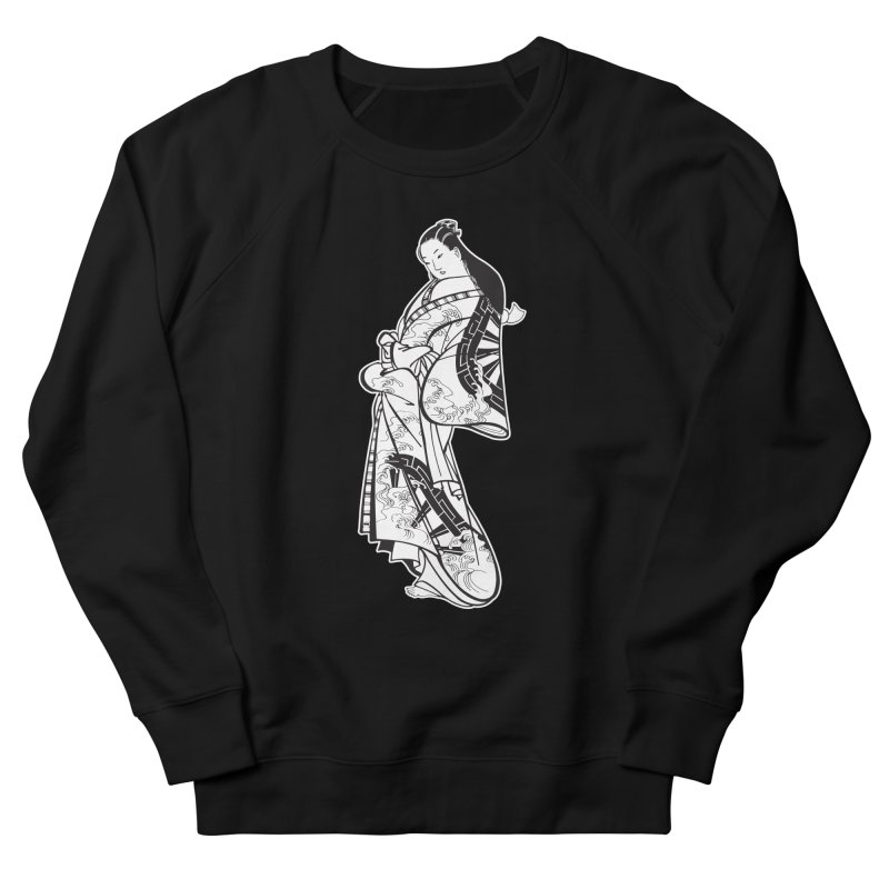Geisha - Black Men's French Terry Sweatshirt by Midnight Studio