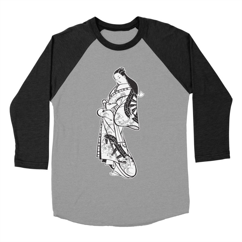 Geisha - Black Men's Baseball Triblend Longsleeve T-Shirt by Midnight Studio