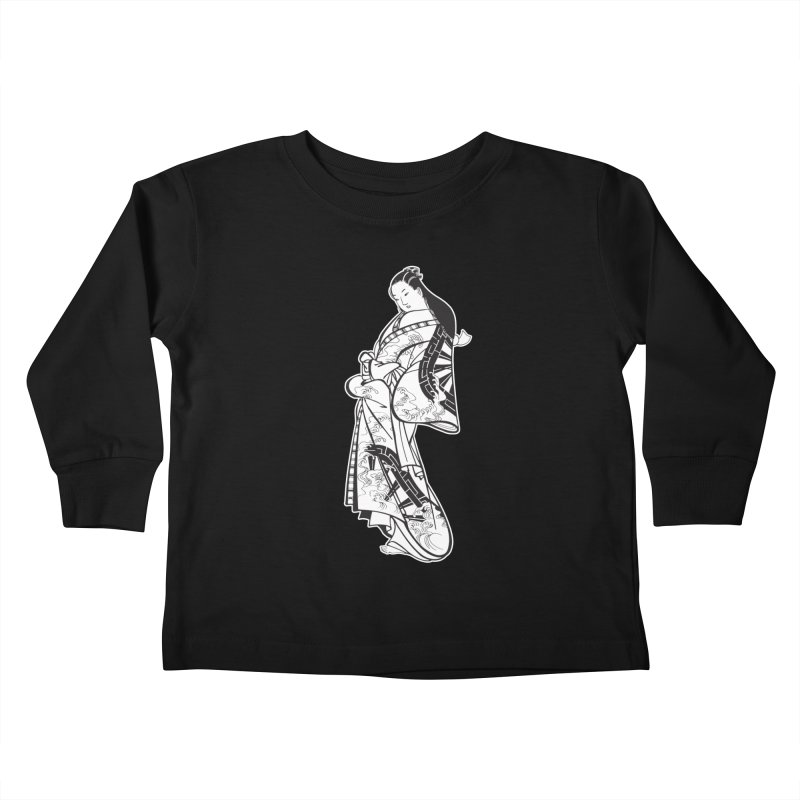 Geisha - Black Kids Toddler Longsleeve T-Shirt by Midnight Studio