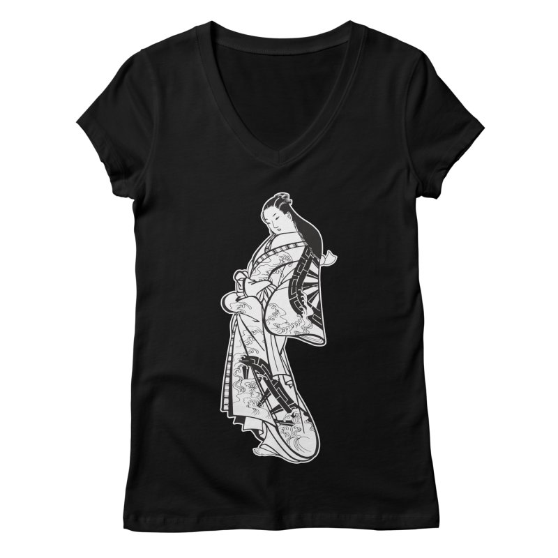 Geisha - Black Women's Regular V-Neck by Midnight Studio