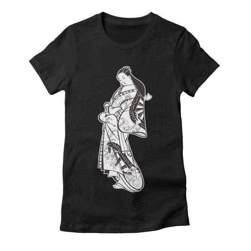Geisha - Black Women's Fitted T-Shirt by Midnight Studio