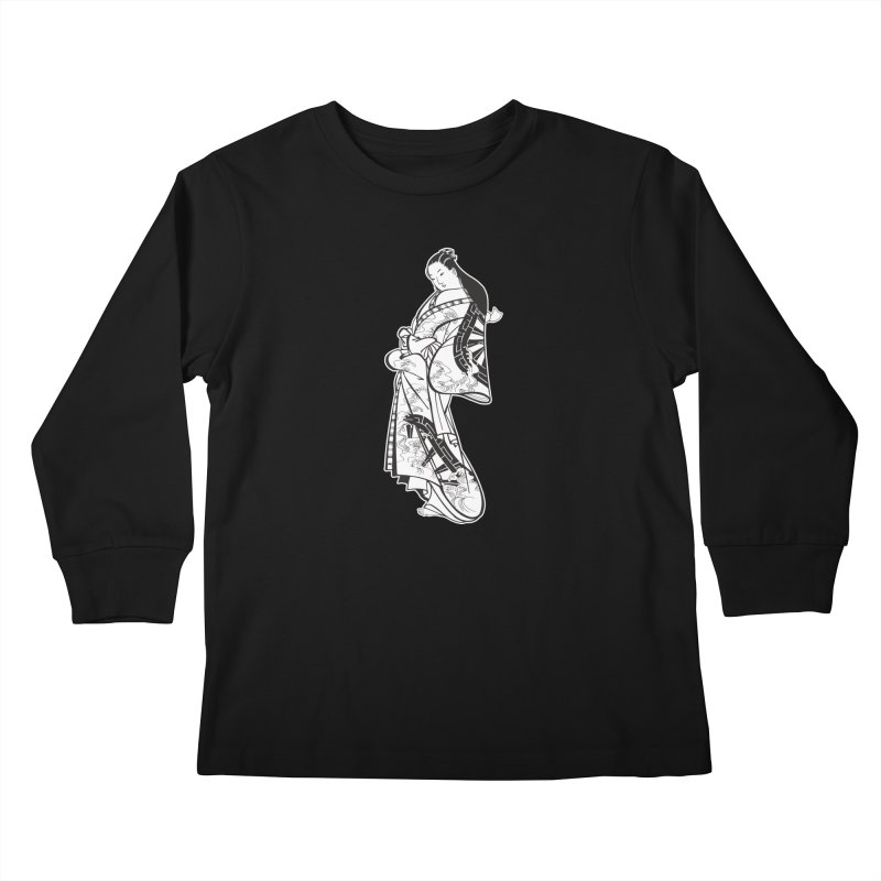 Geisha - Black Kids Longsleeve T-Shirt by Midnight Studio