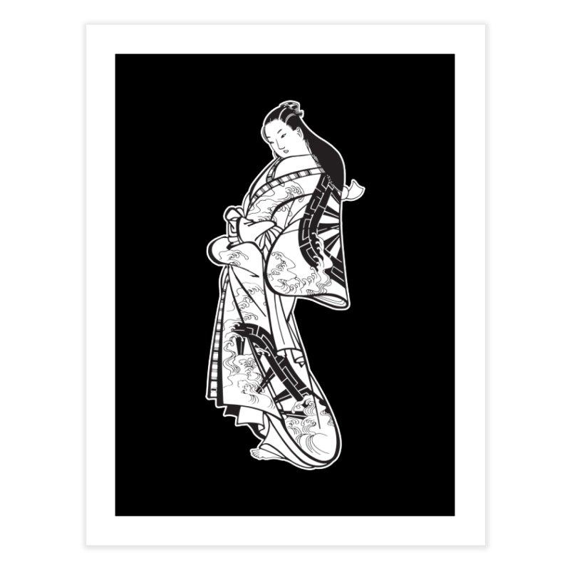 Geisha - Black Home Fine Art Print by Midnight Studio