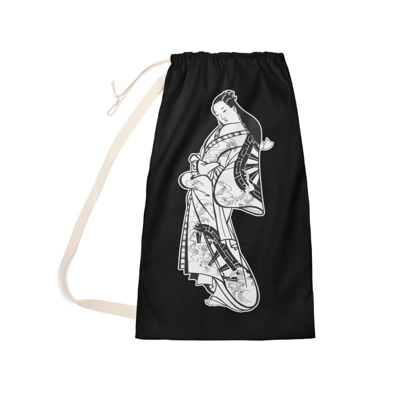 Geisha - Black Accessories Laundry Bag Bag by Midnight Studio